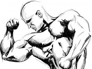 Bodybuilding pose drawing - single arm biceps