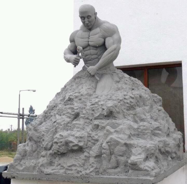 Granite statue of bodybuilder