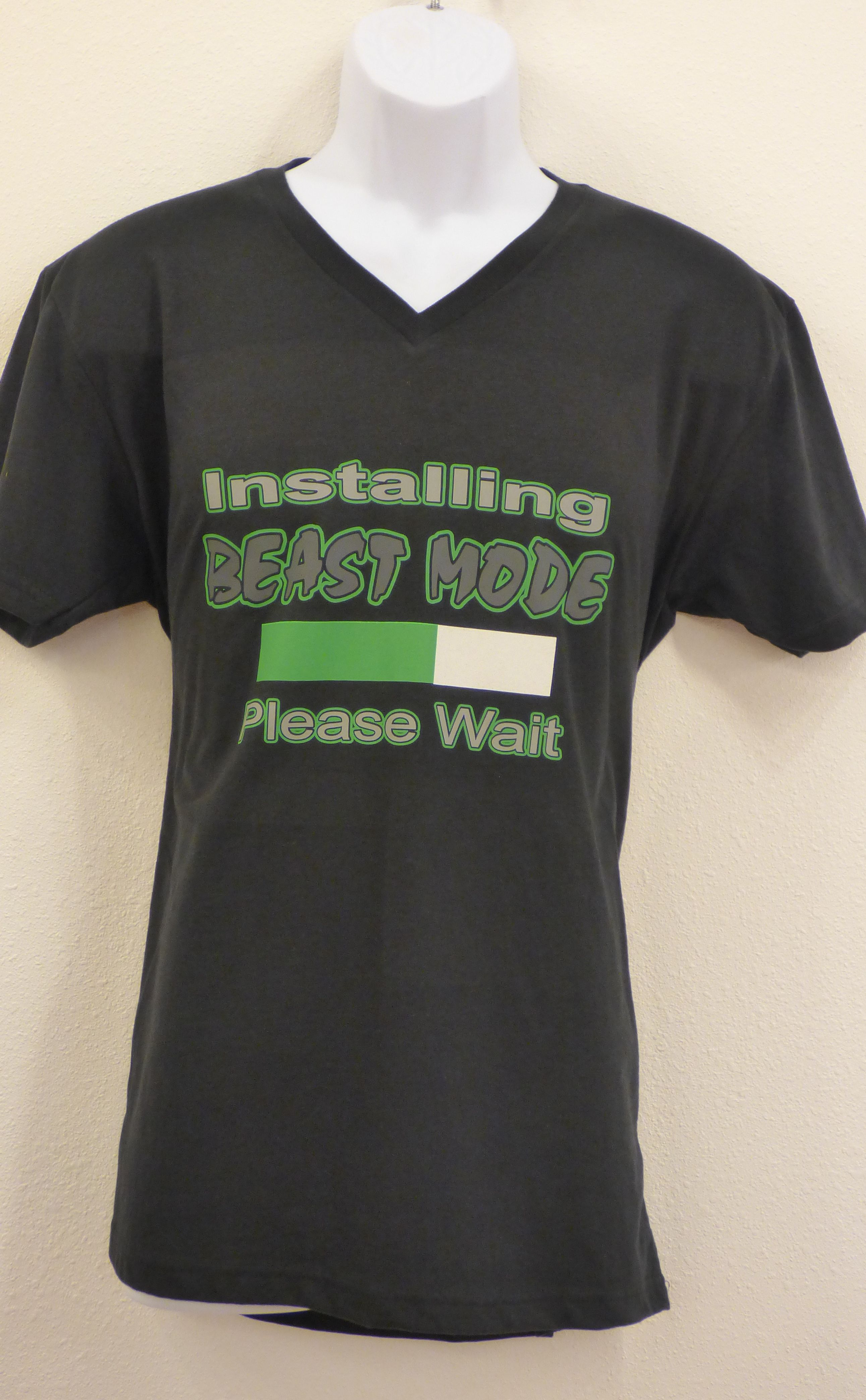 Unisex V-neck 'Installing Beast Mode Please Wait' shirt